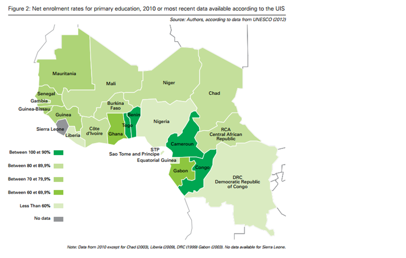 UNESCO Africa map stats of lack of education